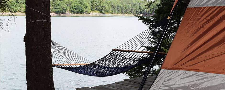 hammock overlooking water