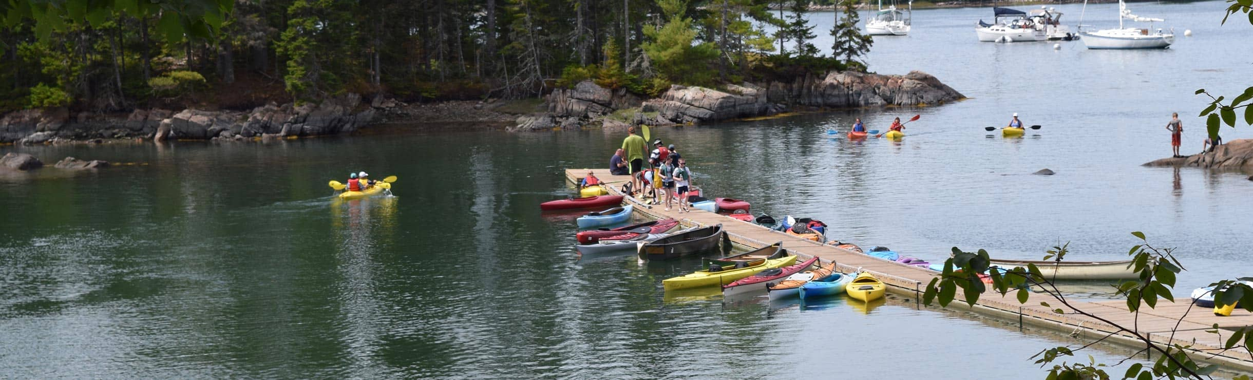 floating dock at mount desert campground near bar harbor