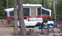 camper parked at a campsite